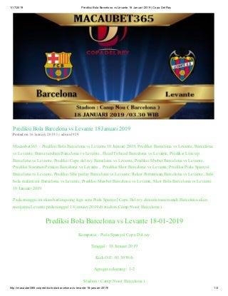 Macaubet365 prediksi bola barcelona vs levante 18 januari 2019 copa del rey