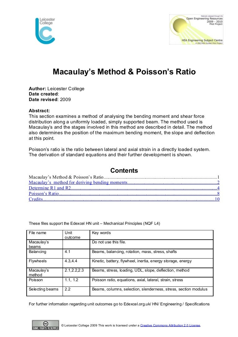 Macaulays Method Poissons Ratio Tutorial On How To Calculate Shear Force In Beams Bending