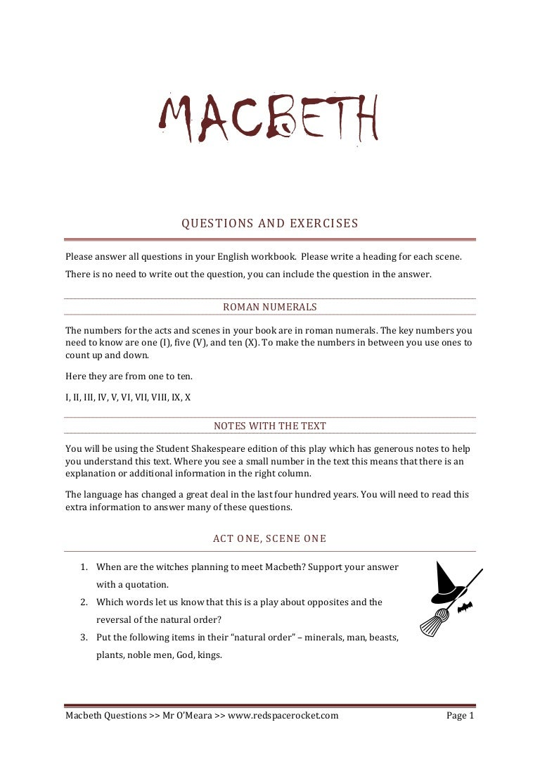 - Macbeth Comprehension Questions