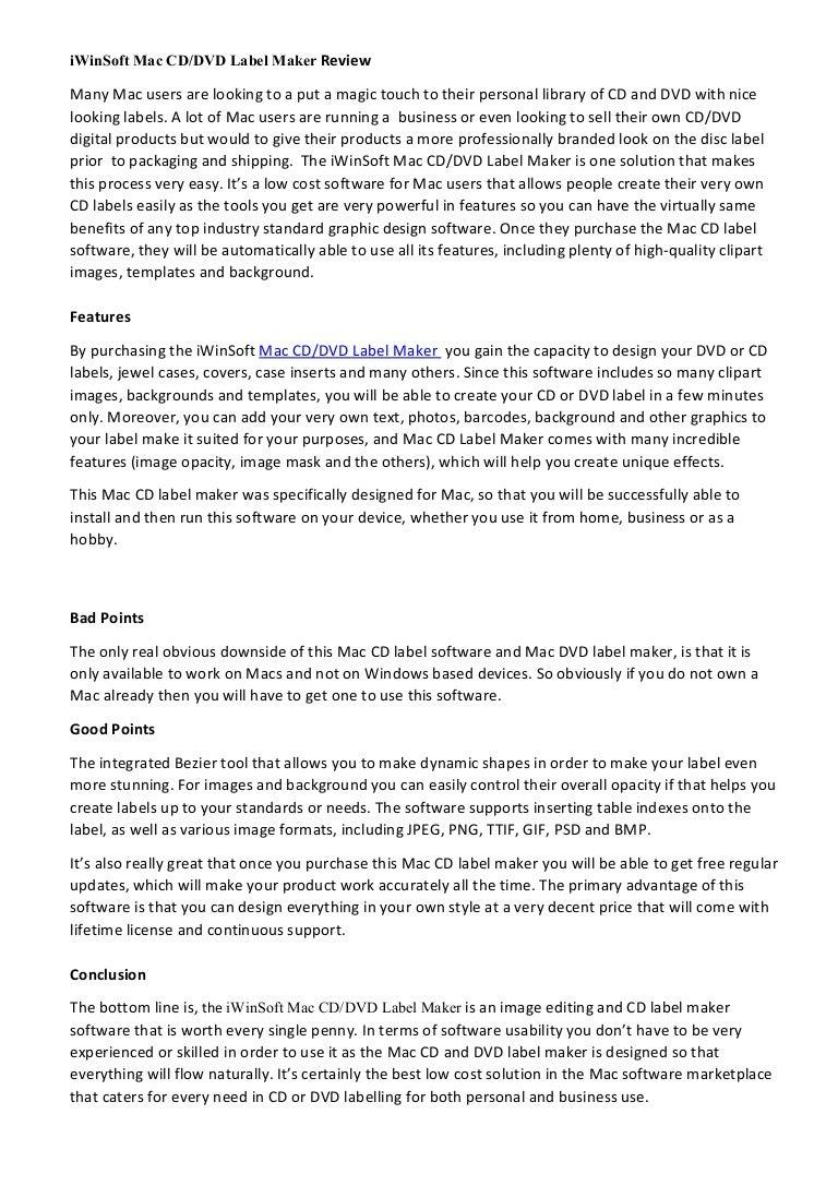 Mac Cd Label Maker Review