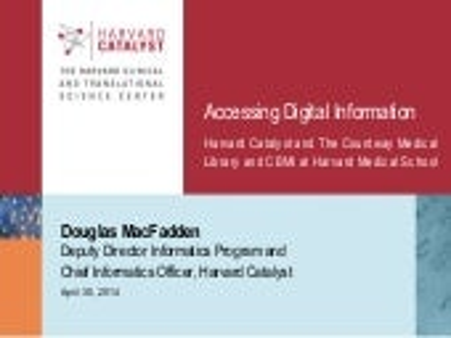 APLIC 2014 - Douglas MacFadden on Harvard Catalyst