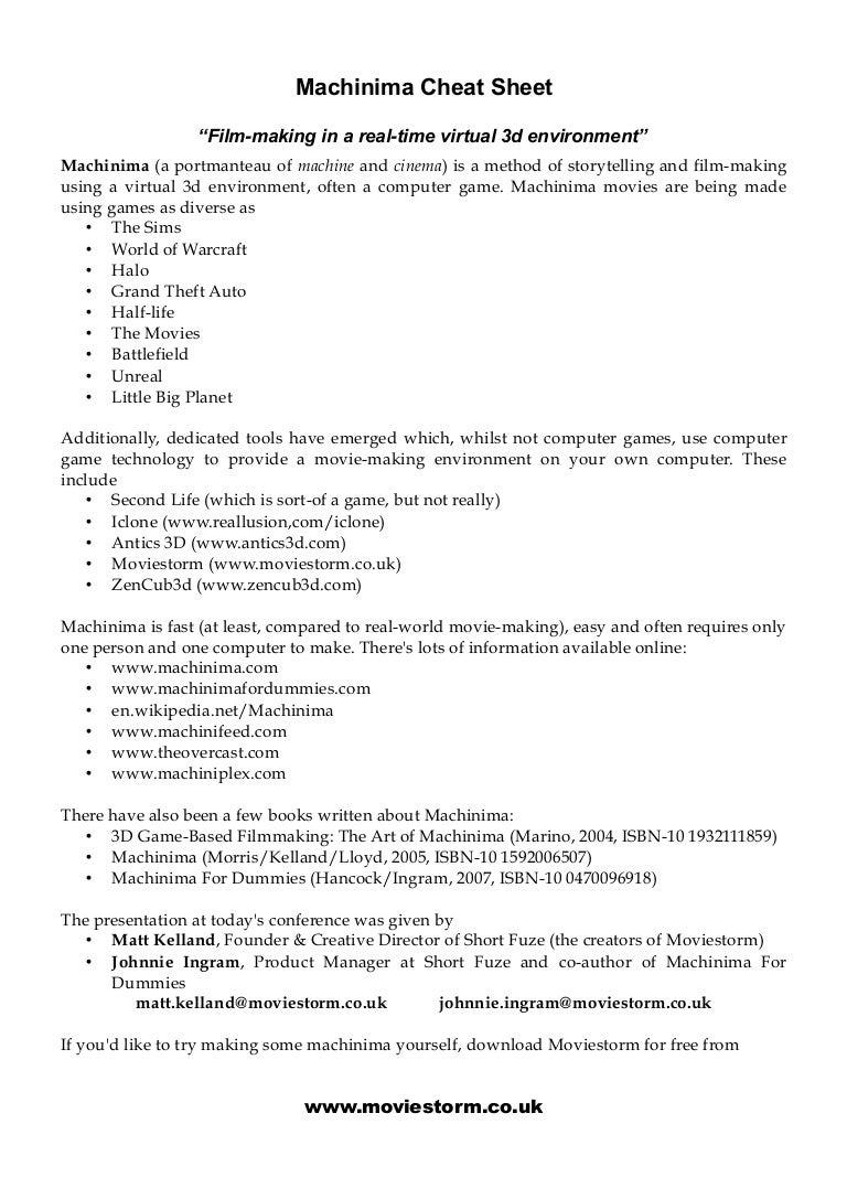 Machinima : Cheat Sheet (OCR Media Conference 2009)