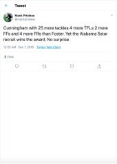 Cunningham with 25 more tackles 4 more TFLs 2 more FFs and 4 more FRs than Froster.