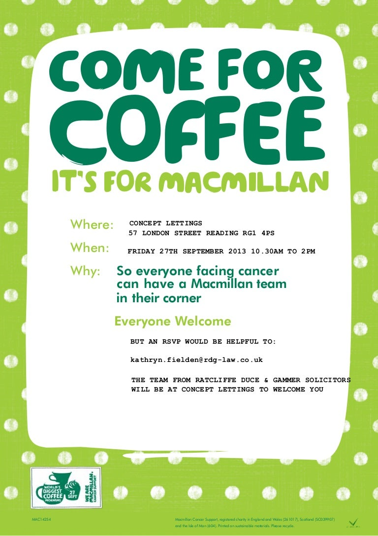 Macmillan Cancer Support Coffee Morning 2013 Poster