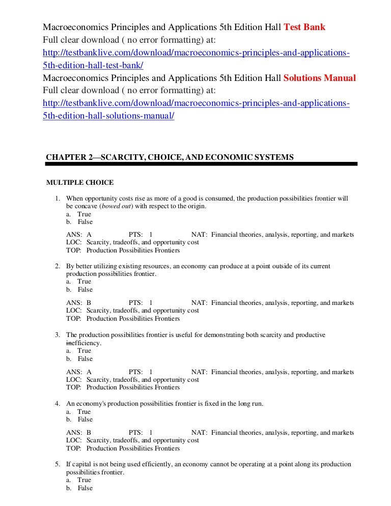 Macroeconomics principles and applications 5th edition hall solutions….