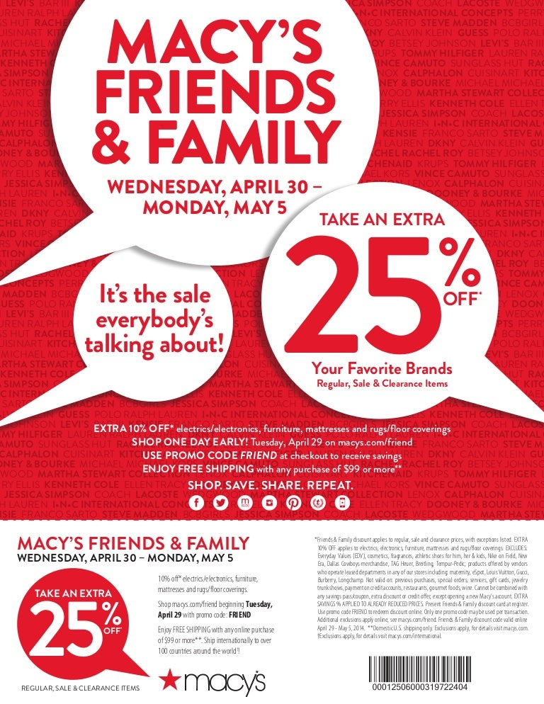 Macy's Friends & Family - 25% off Coupon