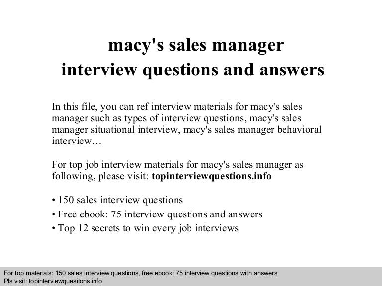 Macy\'s sales manager interview questions and answers