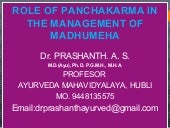 Role of Panchakarma in the Management of Madhumeha