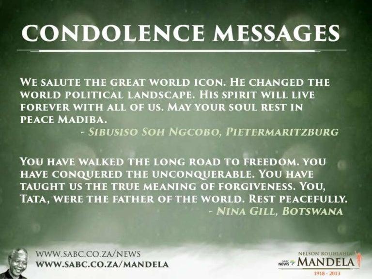 Nelson Mandela: Condolence Messages