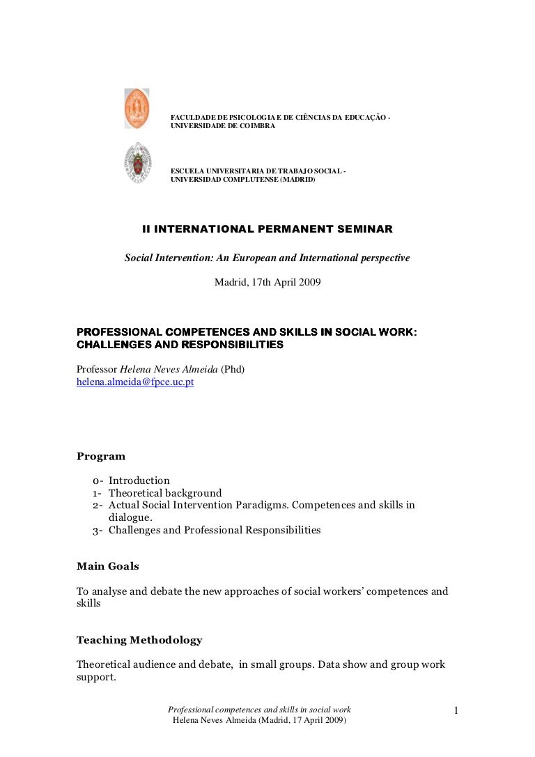 madrid competences and skills in social work