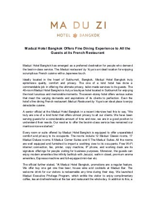 Maduzi Hotel Bangkok Offers Fine Dining Experience to All the Guests at its French Restaurant