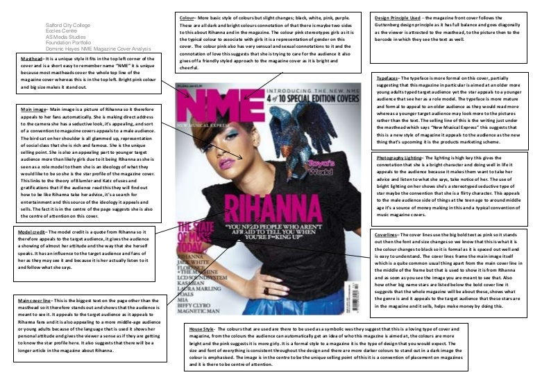 Magazine Cover Analysis Of Nme By Dominic Hayes
