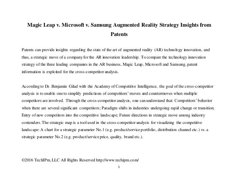 Magic Leap v Microsoft v Samsung Augmented Reality Strategy Insight – Microsoft Competitive Analysis