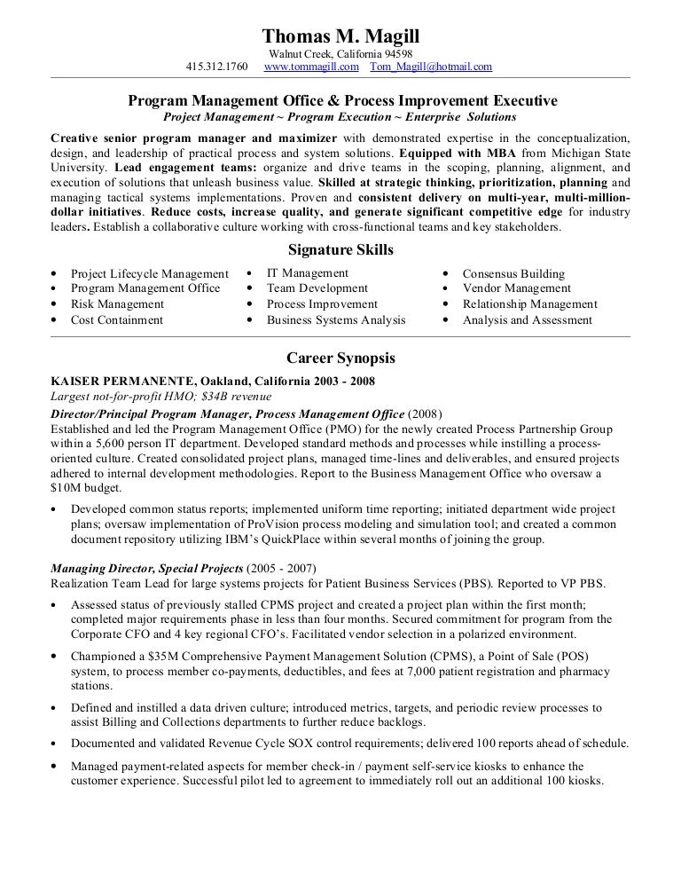 magill  thomas resume pmo process 2010