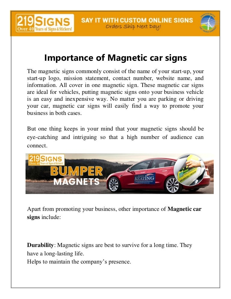 Magnetic Car Signs Custom Vehicle Magnets 219 Signs
