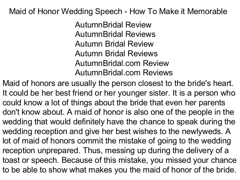 Maid of honor wedding speech how to make it memorable