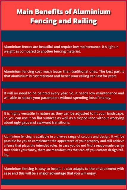 Main Benefits of Aluminium Fenicng and Railing