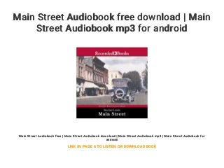 Main Street Audiobook free download - Main Street Audiobook mp3 for android