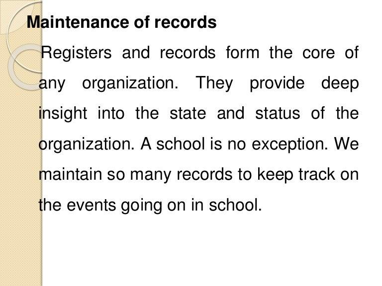 Maintenance of school records