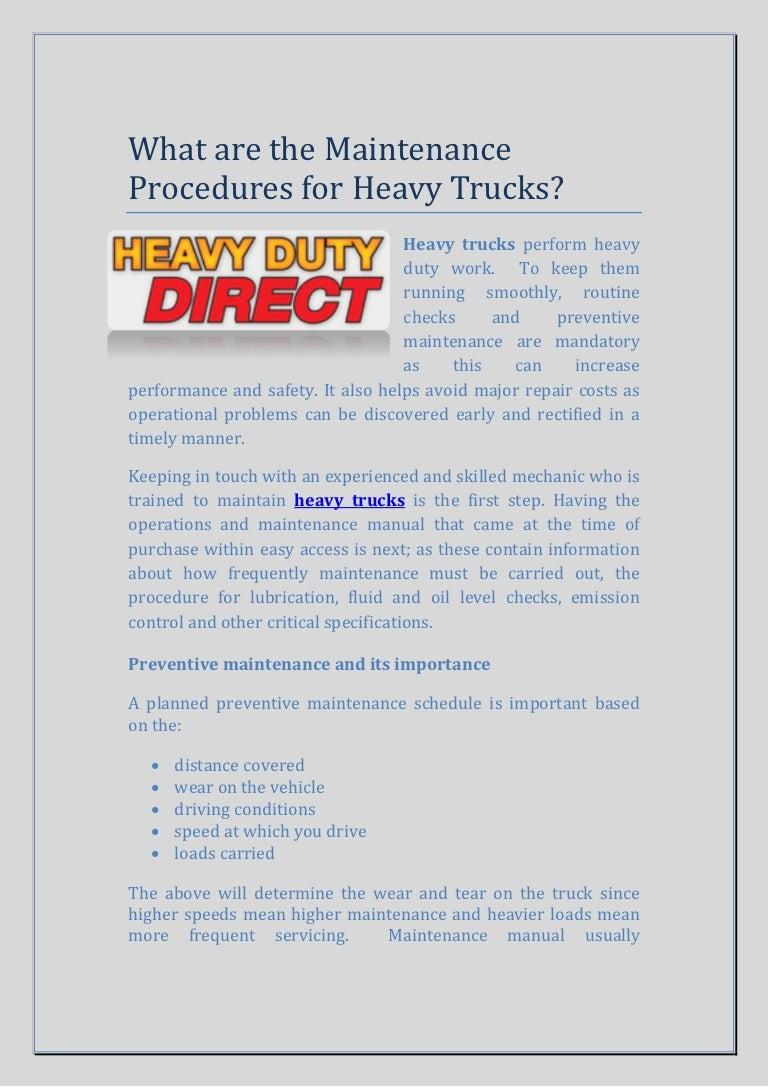 Maintenance procedures-for-heavy-trucks