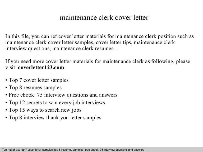 Maintenance Clerk Cover Letter Clerical Cover Letter Sample