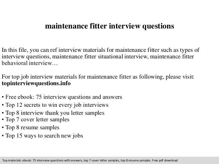 Maintenance Fitter Interview Questions