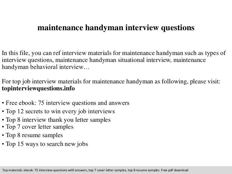 maintenance handyman interview questions