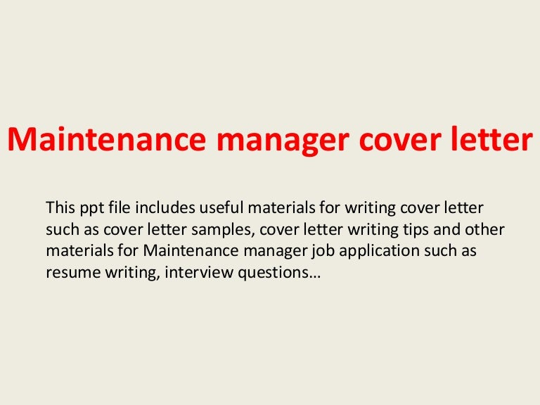 Maintenance Worker Cover Letter Example