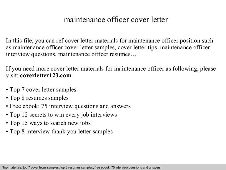 Maintenance officer cover letter – Maintenance Cover Letter Sample