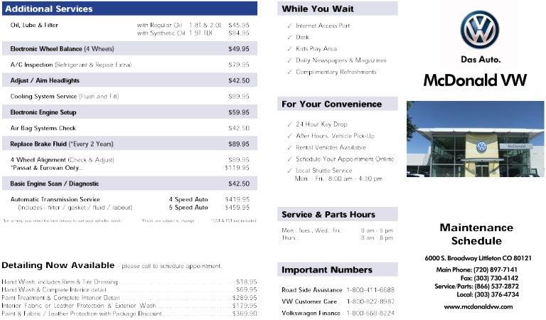 volkswagen maintenance schedule