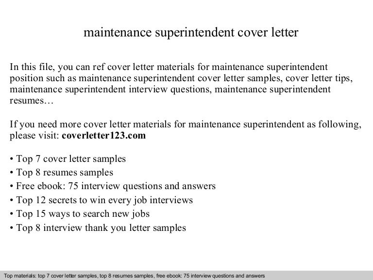 maintenance superintendent cover letter superintendent cover letter