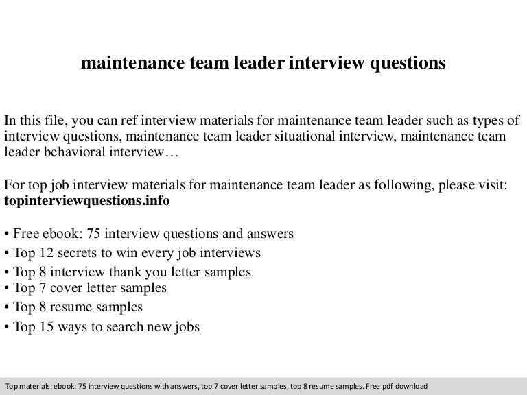 Maintenance team leader interview questions