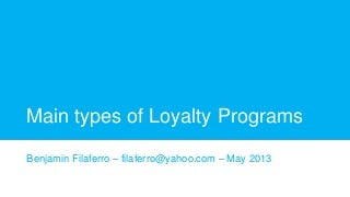 Main types of loyalty programs