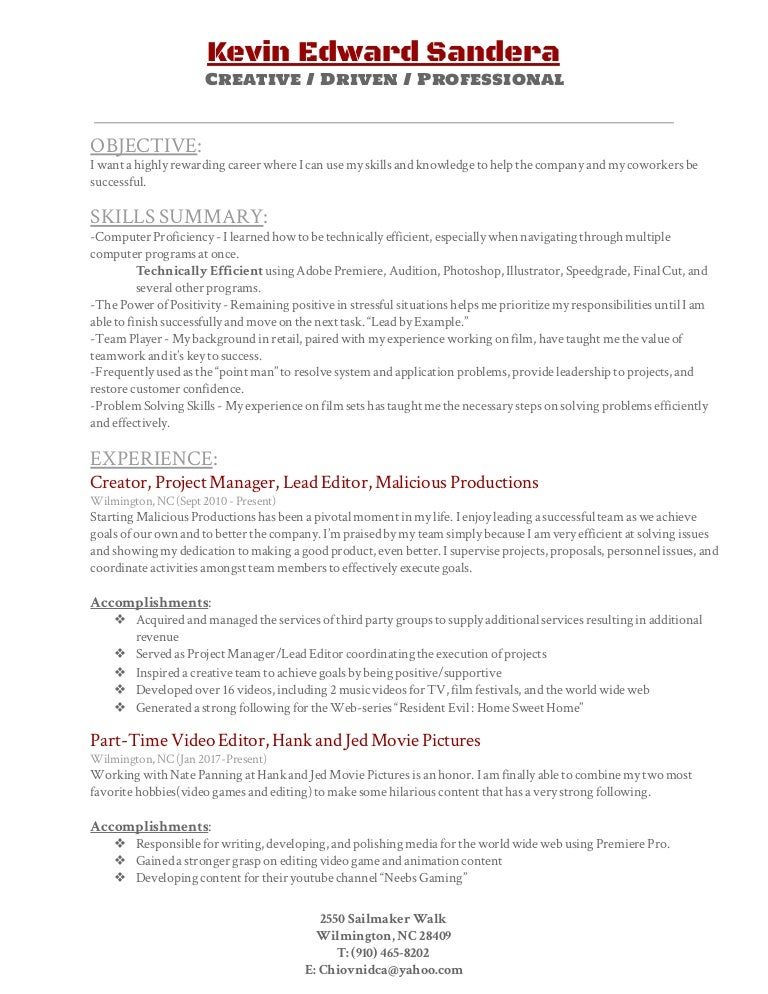 video editing resume - Video Editing Resume