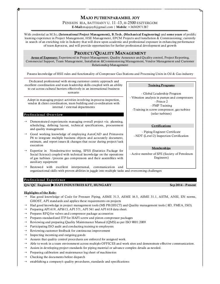 Contemporary Piping Engineer Resume Oil And Gas Gallery ...