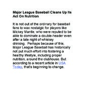 Lee Hnetinka - Major league baseball cleans up its act on nutrition