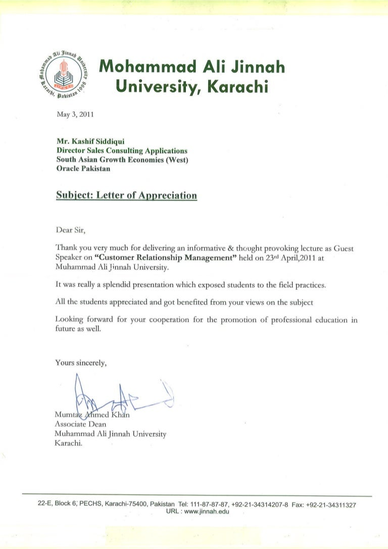 Letter Of Appreciation For Lecture