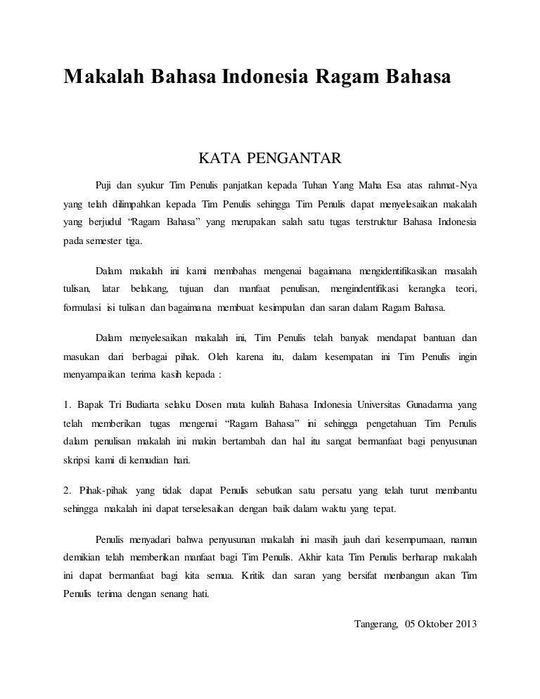 Makalah Bahasa Indonesia Ragam Bahasa