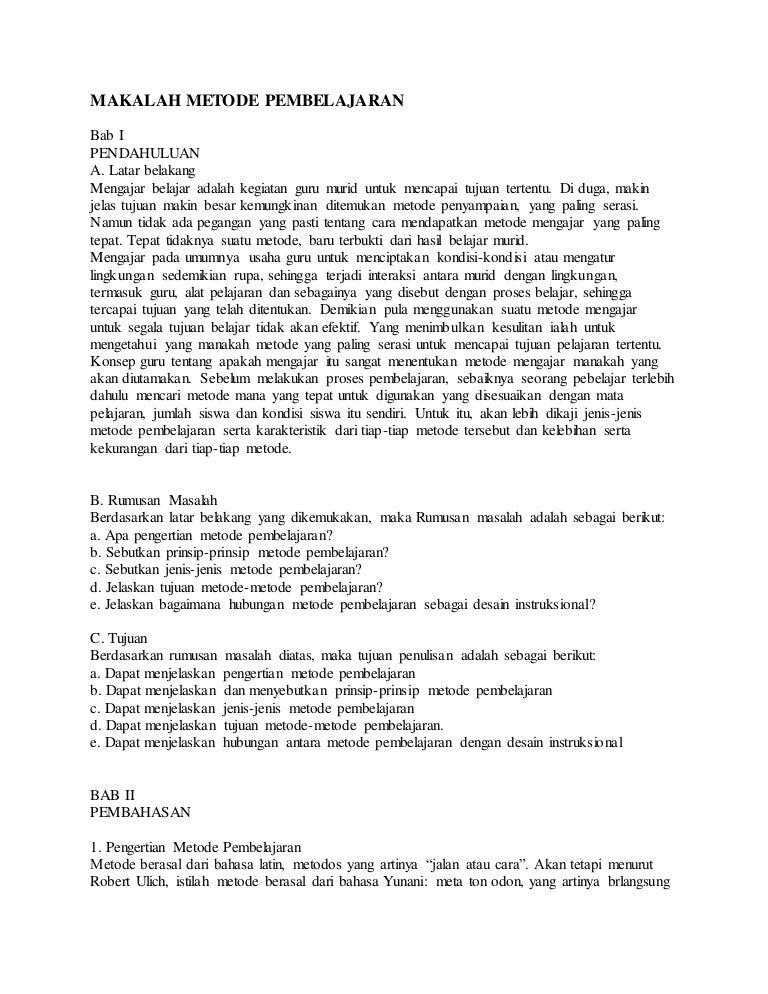 Contoh Makalah Metode Pembelajaran Bahasa Inggris