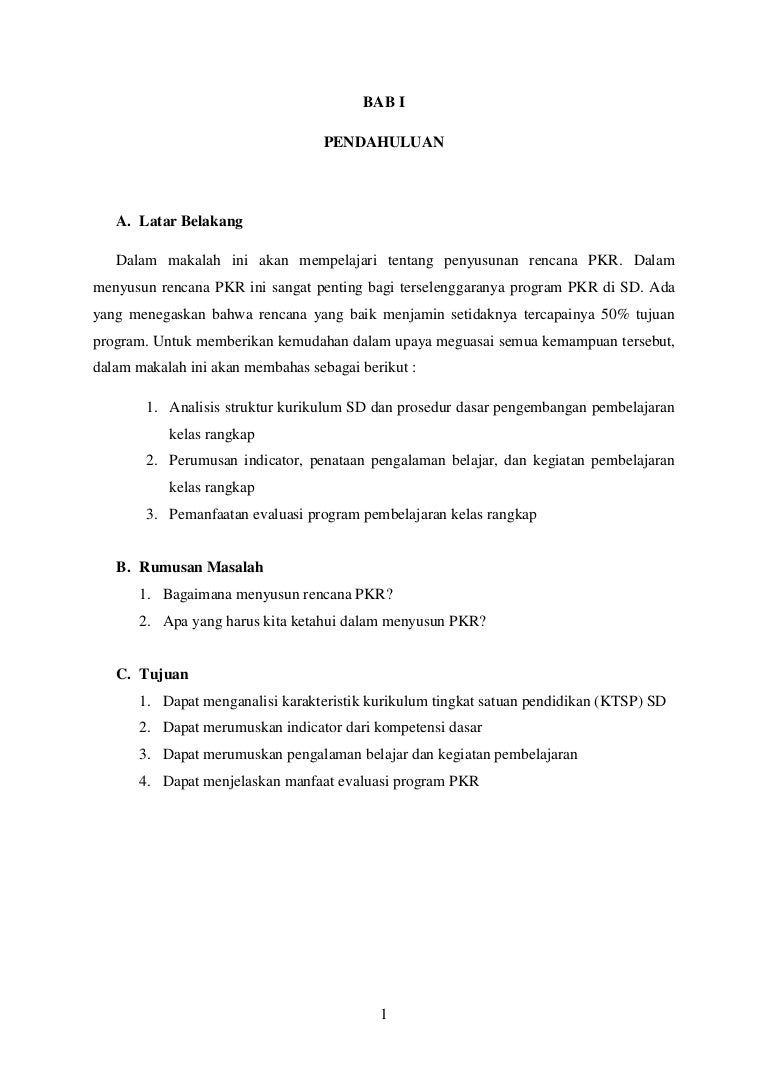 Penyusunan Rencana Pembelajaran Kelas Rangakap Rpkr