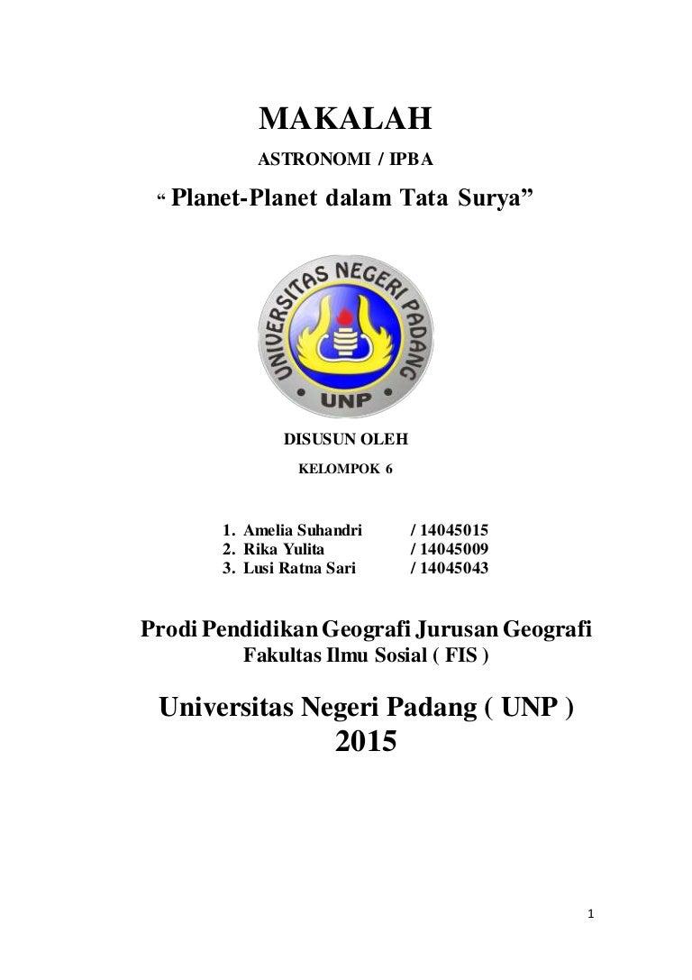 Makalah Astronomi Tentang Planet Dalam Tata Surya