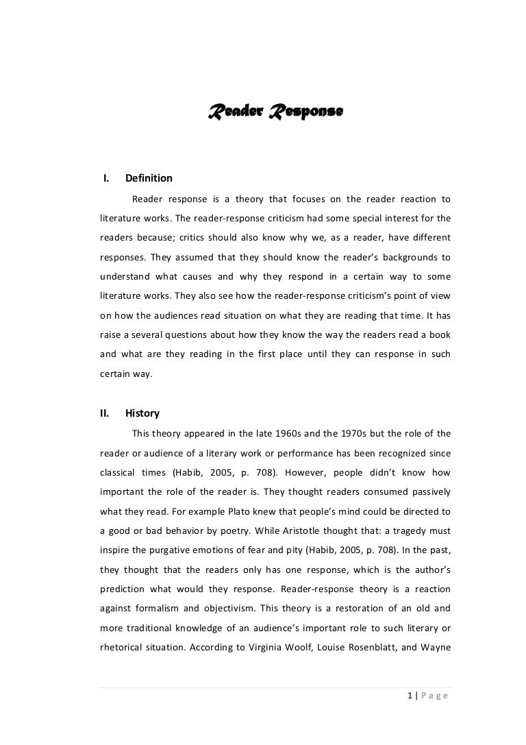 example of reader response essays template example of reader response essays