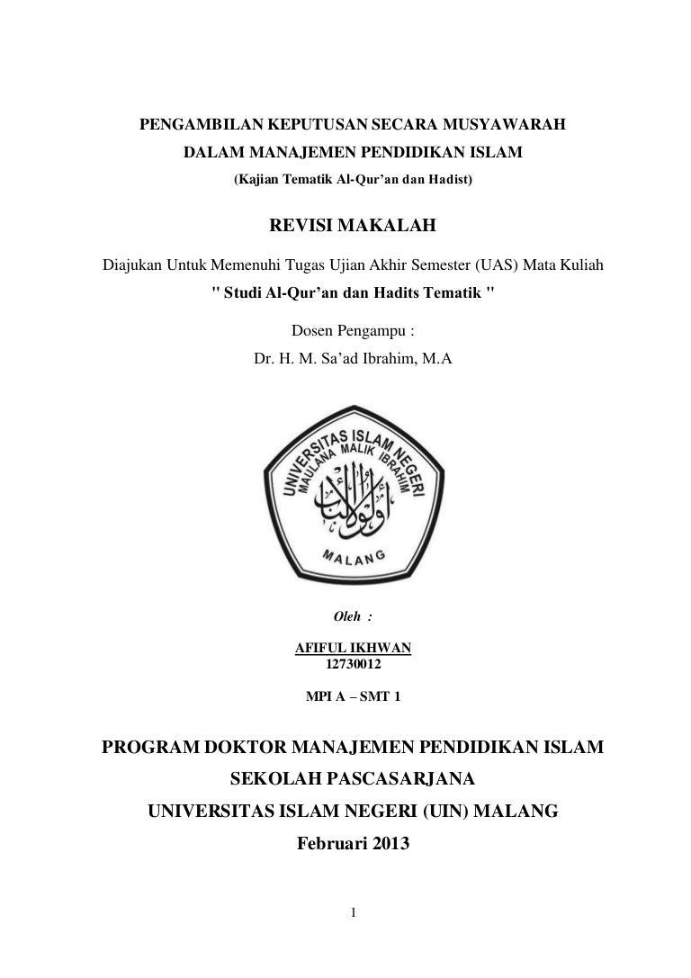 Makalah Revisi Uas Pengambilan Keputusan Dengan Musyawarah