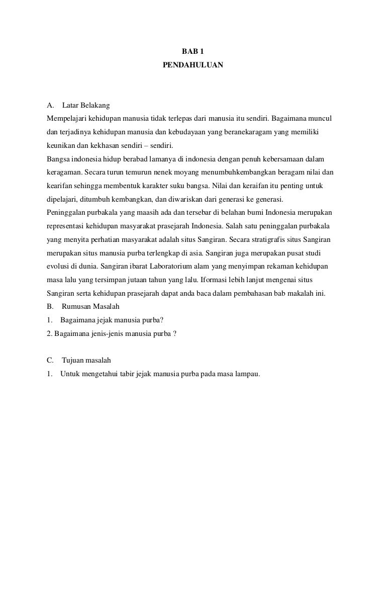 Contoh Daftar Isi Makalah Sejarah Manusia Purba Materi Pelajaran 2