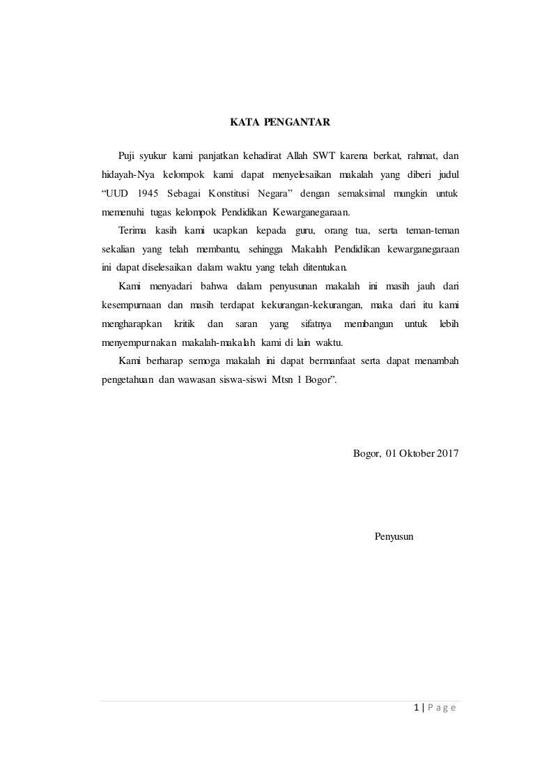 Makalah Uud 1945 Sebagai Konstitusi Negara