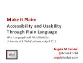 Make It Plain: Accessbility and Usability Through Plain Language