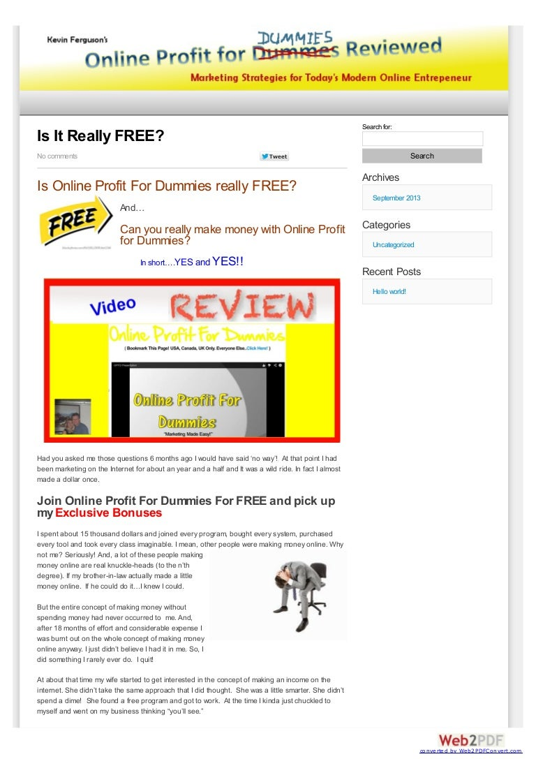 online profit for dummies is a way to make money online