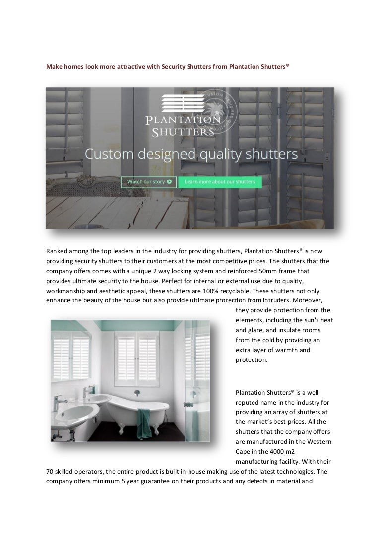 Make Homes Look More Attractive With Security Shutters From