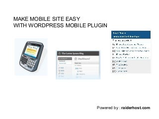 Make Mobile Site WordPress Mobile Plugin