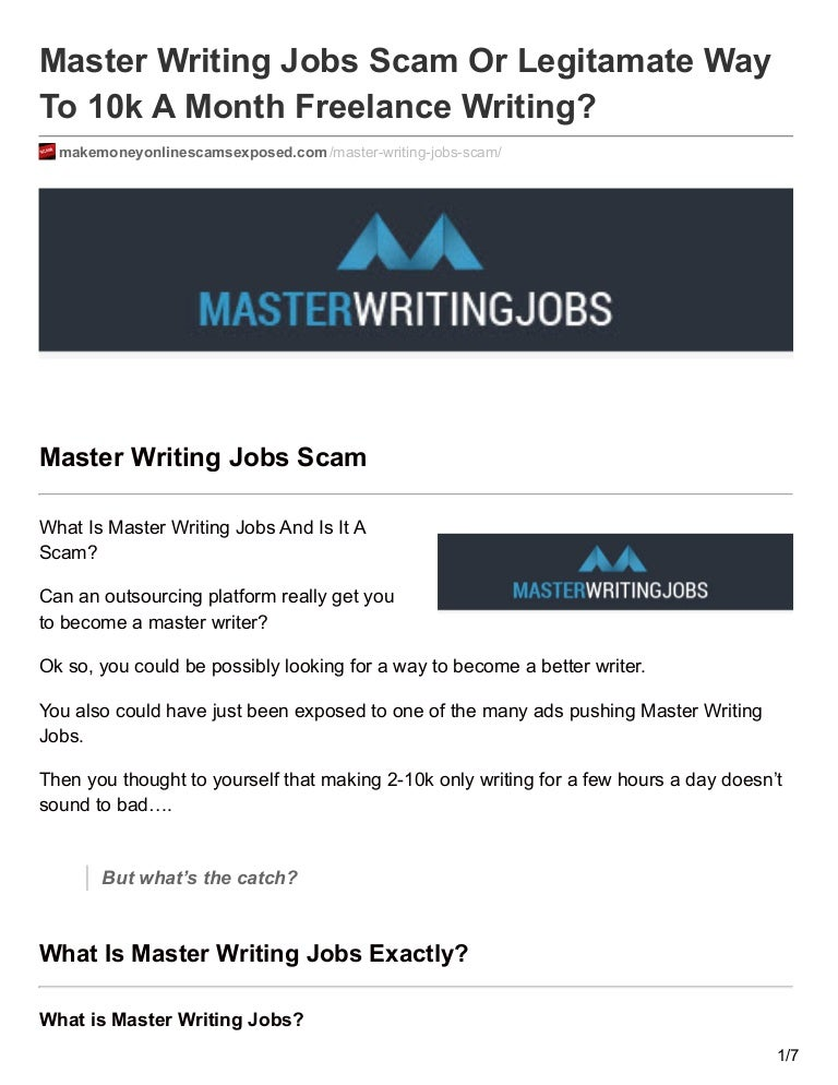 master writing jobs scam or legitamate way to k a month lance